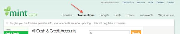 Mint Transactions