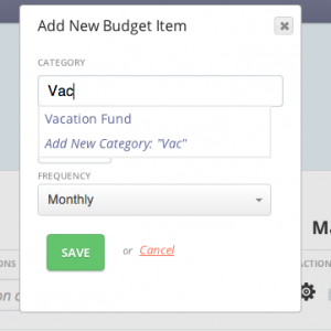 Create a new budget item